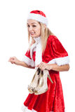 Surprised Christmas woman with shoes Stock Image
