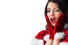 Surprised christmas woman Stock Photo