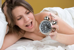 Surprised Clock Woman Royalty Free Stock Photo