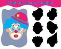 Surprised clown face. Children`s play, find the right shadow.  Stock Photos