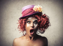 Surprised clown. Woman dressed up as clown with a surprised expression Royalty Free Stock Photos