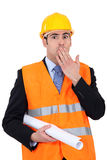 A surprised construction businessman Stock Photo