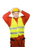 Surprised construction worker Stock Images