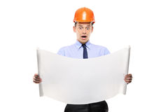 Surprised construction worker Royalty Free Stock Photo