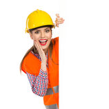 Surprised Construction Worker Peeking Stock Image
