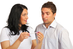 Surprised couple holding pregnancy test Stock Photography