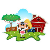 Surprised cow cartoon in a farm for your design Stock Photos
