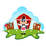 Surprised cow cartoon in a farm for your design Royalty Free Stock Images