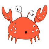Surprised crab with claws and big eyes. Sea life. Sea creature. vector illustration
