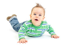 Surprised crawling baby boy. On white background Royalty Free Stock Photography