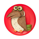 Surprised crow made of bread and cheese Royalty Free Stock Photo