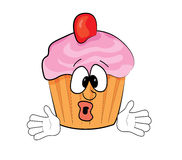 Surprised cupcake cartoon Royalty Free Stock Photography