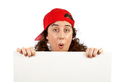 Surprised curious woman Royalty Free Stock Photography