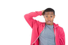 A surprised cute guy in hoody Stock Images