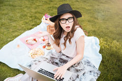Surprised cute young woman using laptop on picnic Stock Photos