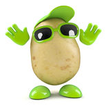 Surprised 3d potato. 3d render of a potato with hands in the air royalty free illustration
