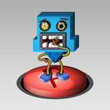 The surprised 3D robot. On the Start-up button Royalty Free Stock Images