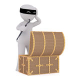 Surprised 3d thief looking into a treasure chest. Surprised 3d thief or burglar wearing a mask looking into an open treasure chest he has broken into with a Royalty Free Stock Photos