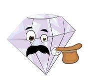 Surprised diamond cartoon Royalty Free Stock Photography