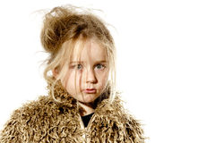 Surprised disheveled preschooler girl with long hair Royalty Free Stock Photography