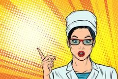 Surprised doctor woman presentation gesture vector illustration