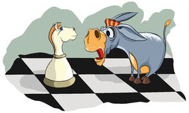 Surprised a donkey looks at chess knight Stock Image