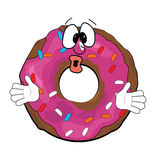 Surprised doughnut cartoon Stock Photography