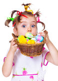 Surprised Easter kid Royalty Free Stock Photos