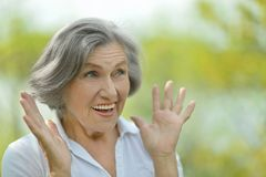 Surprised elder woman Royalty Free Stock Photography