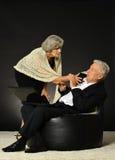 Surprised elderly couple Stock Image