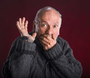 Surprised elderly men Royalty Free Stock Photography
