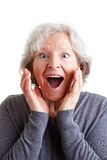 Surprised elderly woman Stock Photos