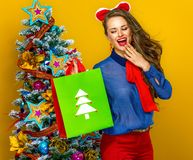 Surprised elegant woman looking at Christmas shopping bag Royalty Free Stock Photo