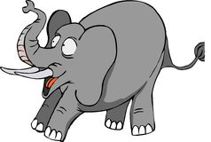 Surprised elephant. With long tusk from Africa big ears big foots stock illustration