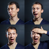 Surprised emotions man stock photography