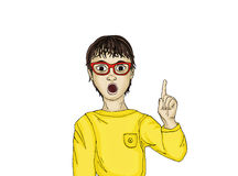 Surprised and enthusiastic child points. With the index finger up. There was a new idea and concept. Portrait Boy on white background. Pop art style Royalty Free Stock Image