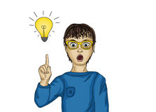 Surprised and enthusiastic child points. With the index finger up. There was a new idea and concept.Portrait Boy on white background. Pop art style Royalty Free Stock Image