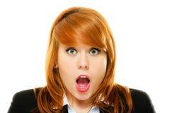 Surprised entsetzte Frauengesicht mit offenem Mund Lizenzfreie Stockfotografie