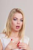 Surprised entsetzte Frauengesicht mit offenem Mund Stockfoto