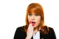 Surprised entsetzte Frauengesicht mit offenem Mund Lizenzfreies Stockbild