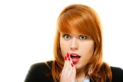 Surprised entsetzte Frauengesicht mit offenem Mund Lizenzfreie Stockbilder