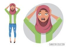 Surprised entsetzte Ostfrau Moslemisches junge Frau tragendes hijab stock abbildung