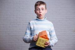 Surprised erstaunte Jungen mit Pappspielzeughaus in den Händen Chil stockbild