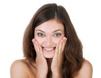 Surprised a excité la femme heureuse Image libre de droits
