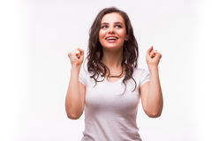 Surprised a excité la femme criarde heureuse d'isolement Photographie stock