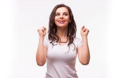 Surprised excitó a la mujer de griterío feliz aislada Fotografía de archivo