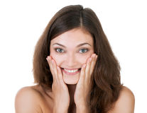 Surprised excited happy woman Royalty Free Stock Image