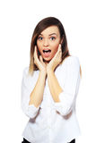 Surprised excited woman Stock Image