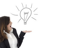 Surprised excited  woman showing a doodle light bulb with open h. Surprised excited  businesswoman showing a doodle light bulb with open hand palm and copy space Stock Photography