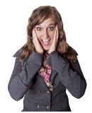 Surprised and Excited Young Woman Royalty Free Stock Images